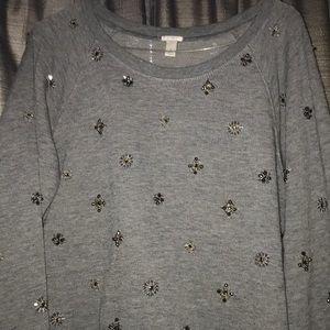 J crew grey large embellished sweatshirt